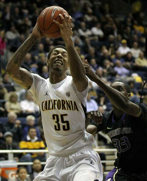 California forward Richard Solomon (35) shoots in the first half during an NCAA basketball game agai