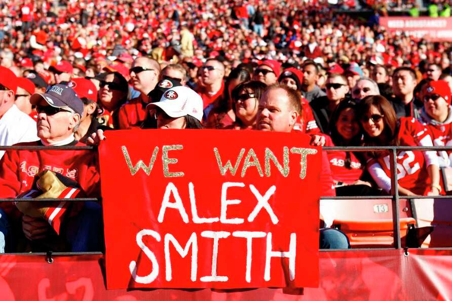 Dec. 30, 2012: Team Alex Smith shows up in the first quarter of the San Francisco 49ers game against