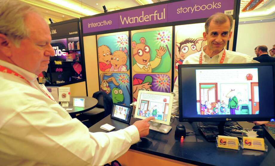 Interactive Wanderful story books are displayed on screen  at the Las Vegas Convention Center on Wednesday. Photo: JOE KLAMAR, AFP/Getty Images / AFP