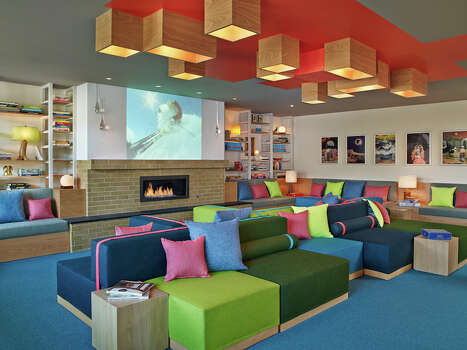 Colorful, modular seating at the bar at the new Wildwood hotel in Snowmass / Westin