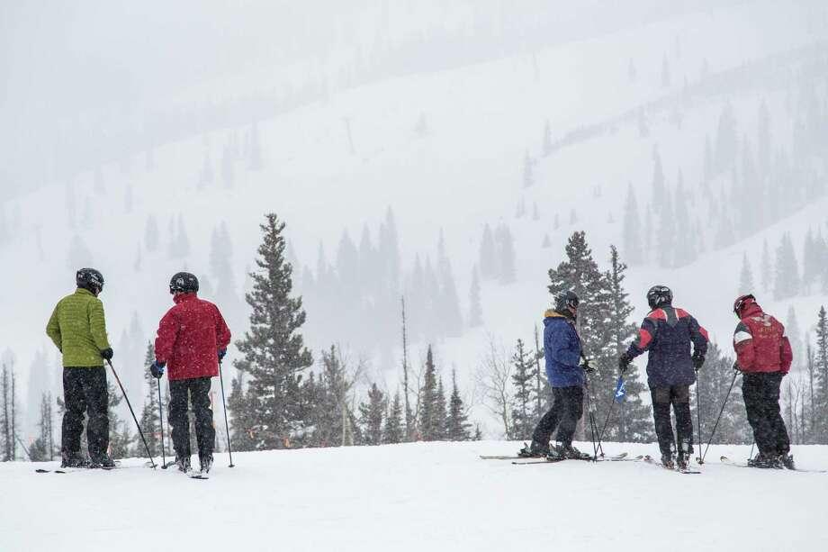 Skiers at Snowmass ski resort Saturday, Dec. 8, 2012, in Aspen. ( Michael Paulsen / Houston Chronicle ) Photo: Michael Paulsen, Staff / © 2012 Houston Chronicle