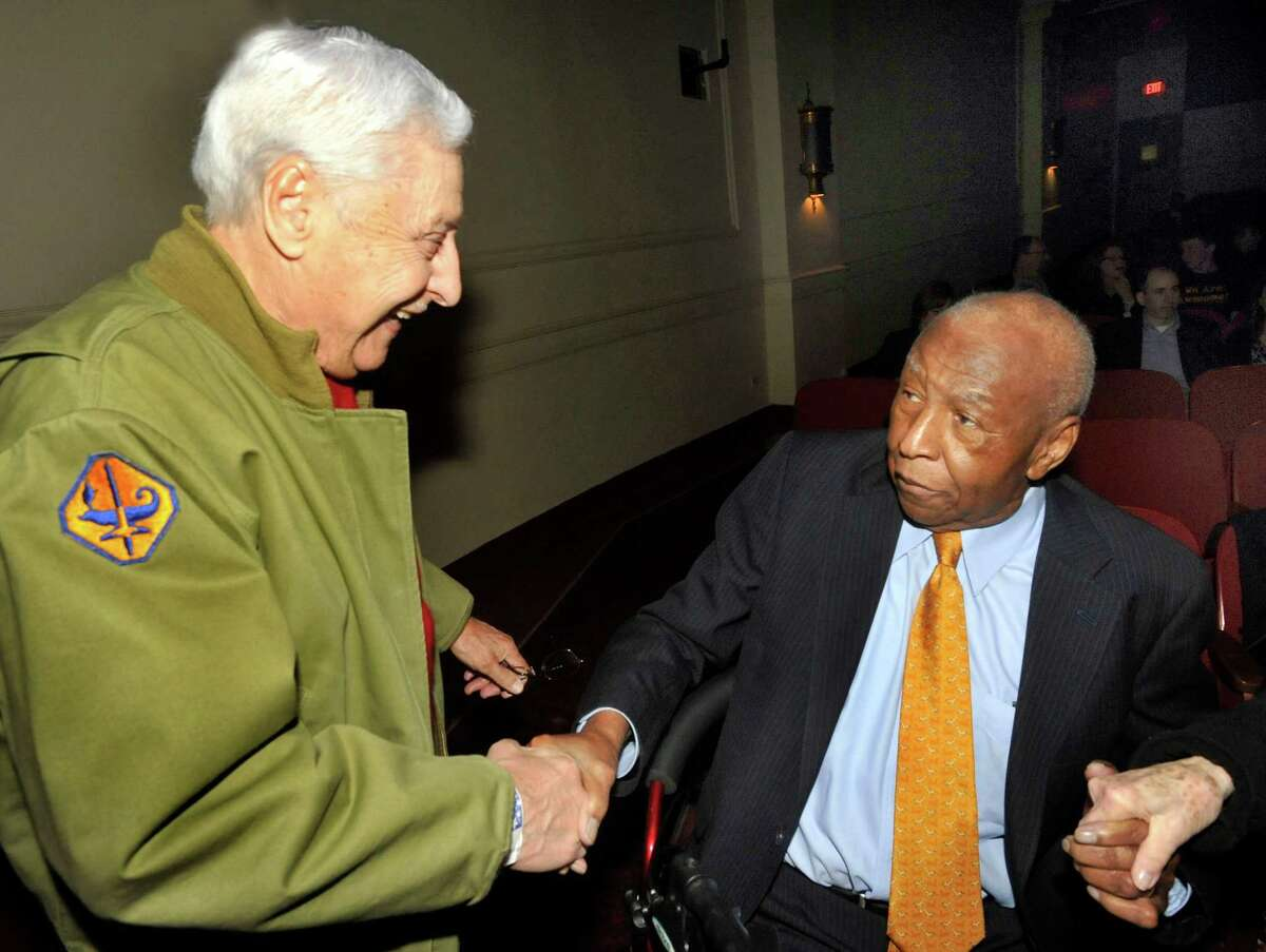 In this file photo Pasquale Pepe, of Shelton, left, greets Jeff Wiggins at the showing of