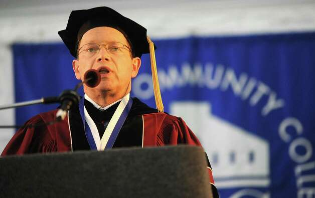 David Levinson, President of Norwalk Community College and Vice President of the Connecticut State Colleges and Universities Board of Regents for Higher Education, speaks during  Norwalk Community College graduation ceremony on May 17, 2012. Levinson was chosen to be part of the Superintendent Search Committee for Norwalk Public Schools. Photo: Lindsay Niegelberg / Stamford Advocate
