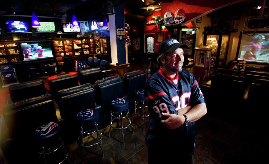 Man Caves Houston : Blake barnes a texans fan stands in his man cave that