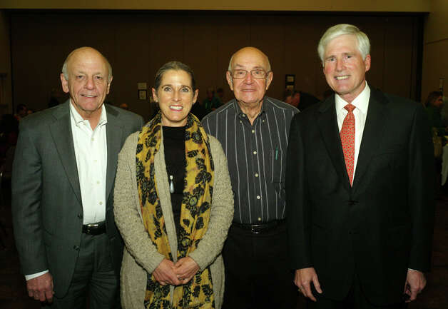 Holocaust Memorial Museum commission members Don Walker (from left), Laura Chesler, David Present and Melbourne O'Banion gather at the Holocaust Memorial Museum program. Photo: Leland A. Outz, For The Express-News / SAN ANTONIO EXPRESS-NEWS