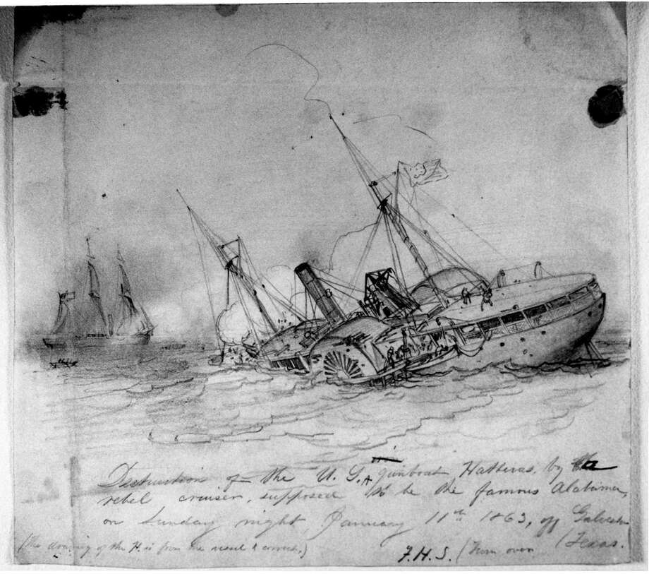This drawing, made by an artist for Harper's Magazine shortly after the battle that sunk the USS Hatteras, was not published until now. The Union gunboat sunk by a Confederate raider in the Gulf of Mexico 20 miles off Galveston on Jan. 11, 1863. Photo: National Oceanic and Atmospheric Administration.