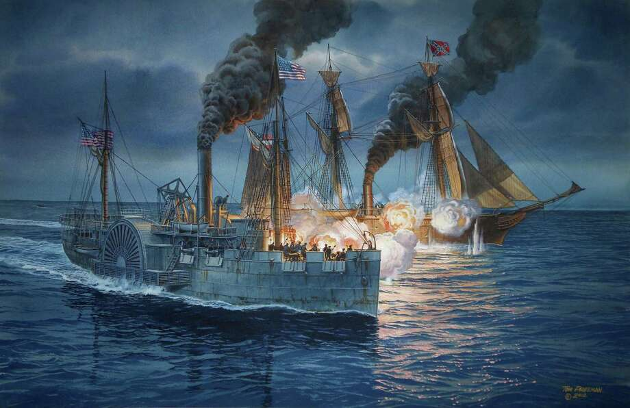 This painting depicting the battle between the Hatteras and the CSS Alabama was done recently based on historical and archaeological data.   credit: National Oceanic and Atmospheric Administration.