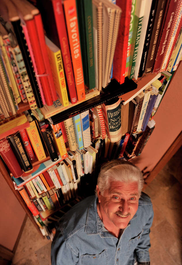 Larry Lowman and his many cookbooks. Photo: Robin Jerstad