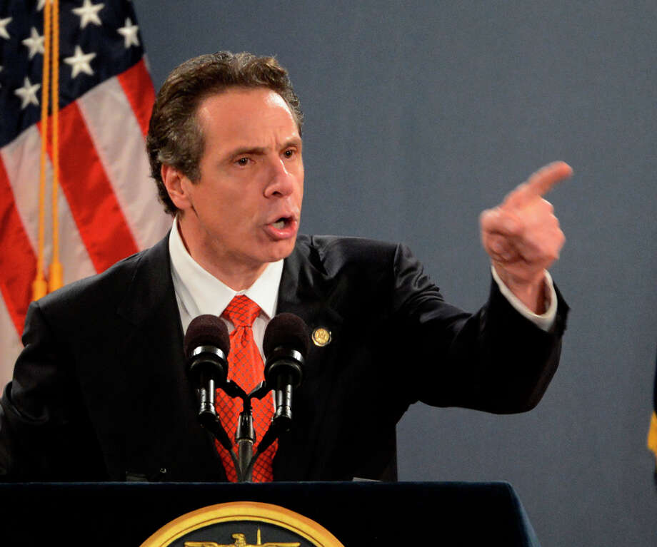 Governor Andrew Cuomo ends his State of the State message with great emotion in the Convention Center of the Empire State Plaza Jan. 9, 2013 in Albany, N.Y. (Skip Dickstein/Times Union) Photo: SKIP DICKSTEIN, ALBANY TIMES UNION / 00020691B