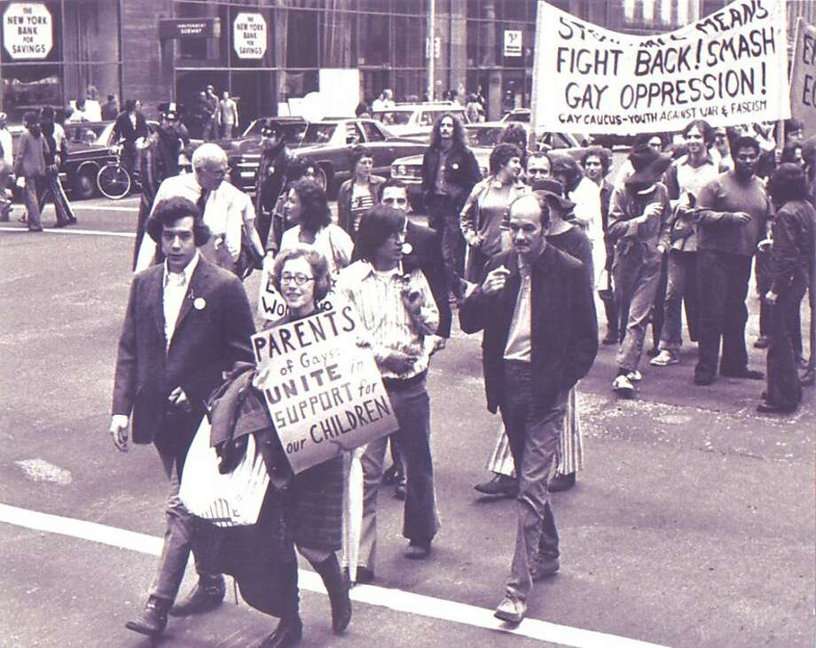 Jeanne Manford (center) marches in New York's Christopher Street Liberation Day March, a precursor to Pride parades, with her son Morty in 1972. Photo: -, Courtesy PFLAG