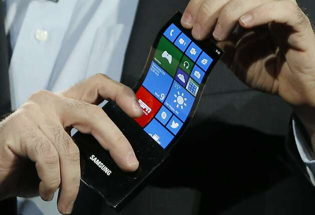 A prototype Windows smartphone has a flexible display for durability and convenience. Photo: Jae C. Hong, Associated Press