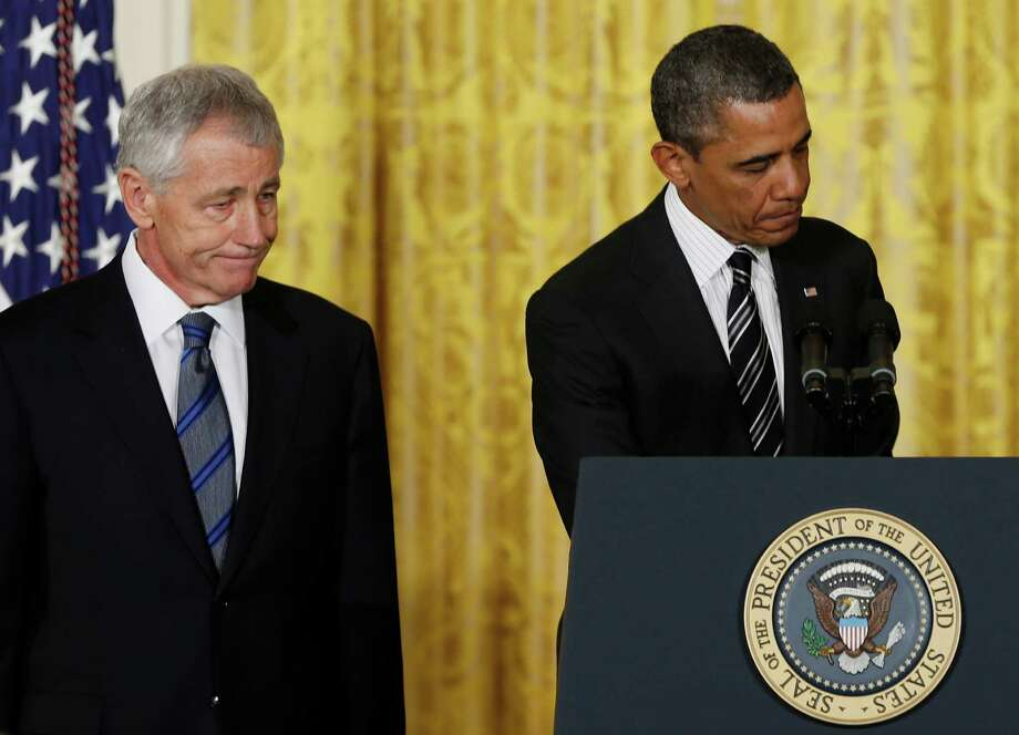 President Barack Obama and former Nebraska Sen. Chuck Hagel participate in a new conference this week to announce Hagel's nomination as secretary of Defense. But Hagel, really, doesn't matter. He won't make policy. Obama will. Photo: Carolyn Kaster, Associated Press / AP