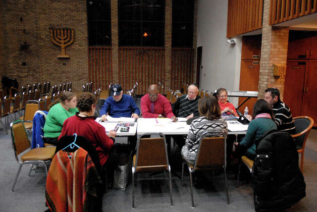 Members of the theater group Jewish Arts Alive work on new material at Congregation Agudath Sholom in Stamford, Conn., Dec. 27, 2012. Tamar Gershberg is the founder and director of the group. She is hoping to revive the organization, which is dedicated to promoting, educating, and exploring the rich tapestry of Jewish heritage and folklore through the arts, and is predicated on working with multi-cultural entities in order to build bridges of understanding in the community. Photo: Keelin Daly / Stamford Advocate Riverbend Stamford, CT