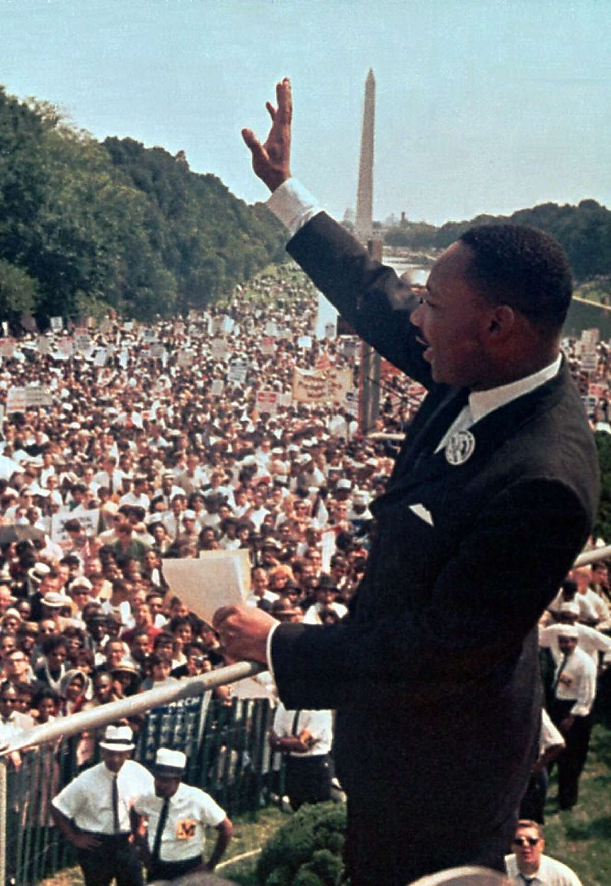 """ADVANCE FOR USE SUNDAY, JAN. 13, 2013 AND THEREAFTER - FILE - In this Aug. 28, 1963 file photo, The Rev. Martin Luther King Jr. waves to the crowd at the Lincoln Memorial for his """"I Have a Dream"""" speech during the March on Washington. The march was organized to support proposed civil rights legislation and end segregation. (AP Photo)"""