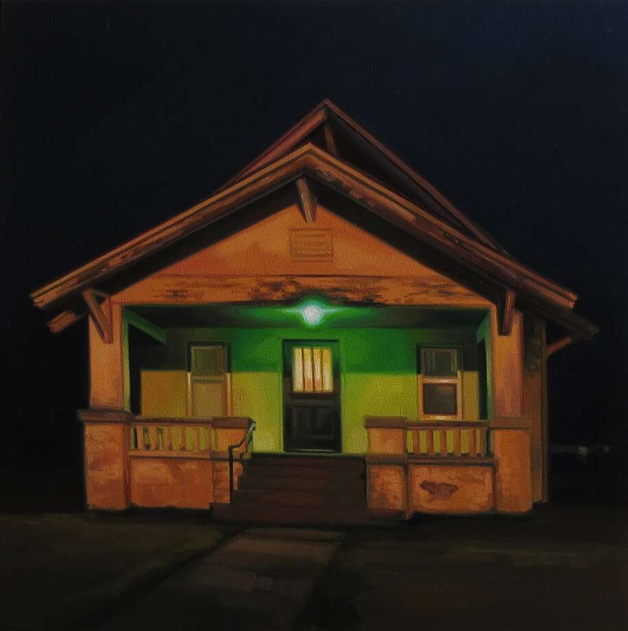 Sarah Williams, Cherry Street, 2012, oil on panel, 12 x 12 inches. Showing at the Art Museum of Southeast Texas