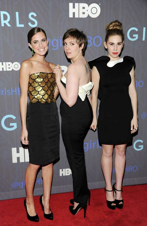 "Actresses Allison Williams, left, Lena Dunham, center, and Zosia Mamet, pose together on the red carpet at the HBO premiere of ""Girls"" at the NYU Skirball Center on Wednesday, Jan. 9, 2013 in New York. Photo: Evan Agostini, Evan Agostini/Invision/AP / Invision"
