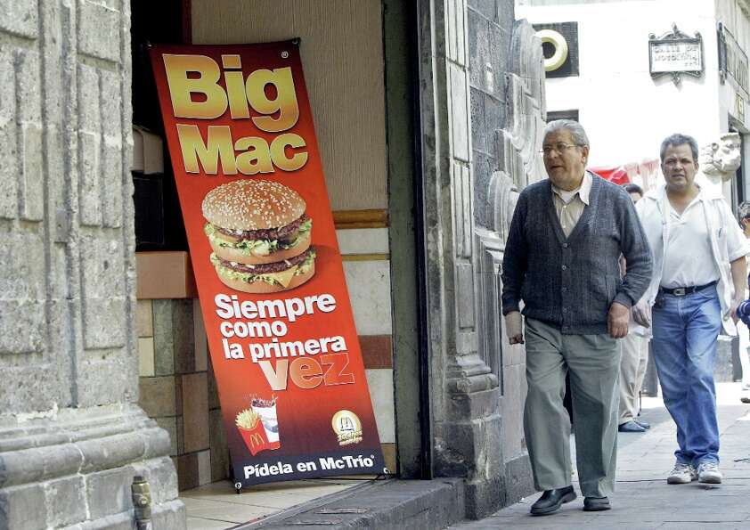 A Big Mac is advertised at a McDonald's restaurant located in Mexico City's historic center.  (San F