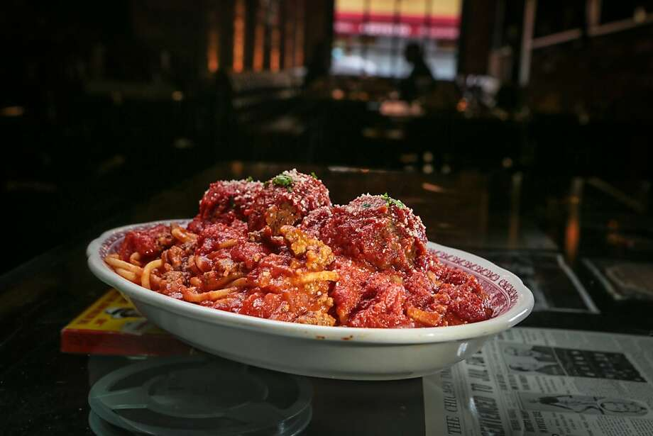 The spaghetti and meatballs have noodles of substance that are chewy enough to stand up to the chunky, sausage-filled sauce. Photo: John Storey, Special To The Chronicle