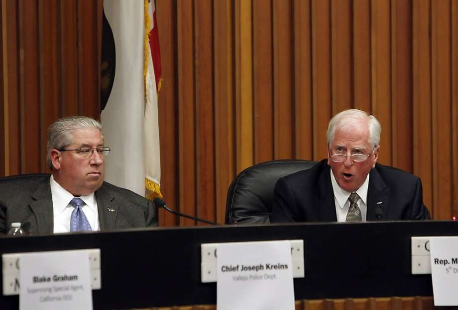 Vallejo Police Chief Joseph Kreins joined Rep. Mike Thompson at the gun forum. Photo: Carlos Avila Gonzalez, The Chronicle