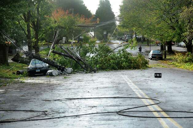 A tree knocked down utility lines on Park Ave. in Bridgeport, Conn. during the height of the wicked weather caused by Super Storm Sandy.This section of Park Ave. between Maplewood and Beechwood Ave. remained closed and without power on Tuesday, Oct. 30, 2012.