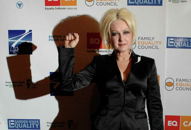 "Singer Cyndi Lauper attends the ""Defying Inequality"" Broadway concert, a celebrity benefit for equal rights, in New York, on Monday, Feb. 23, 2009. (AP Photo/Peter Kramer) Photo: Peter Kramer, Associated Press / KRAPE"