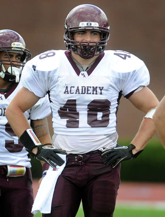 Milford Academy's Shane Nastahowski, a Greenwich High grad, has committed to playing football for Temple University next fall. Photo: Brian A. Pounds / Connecticut Post