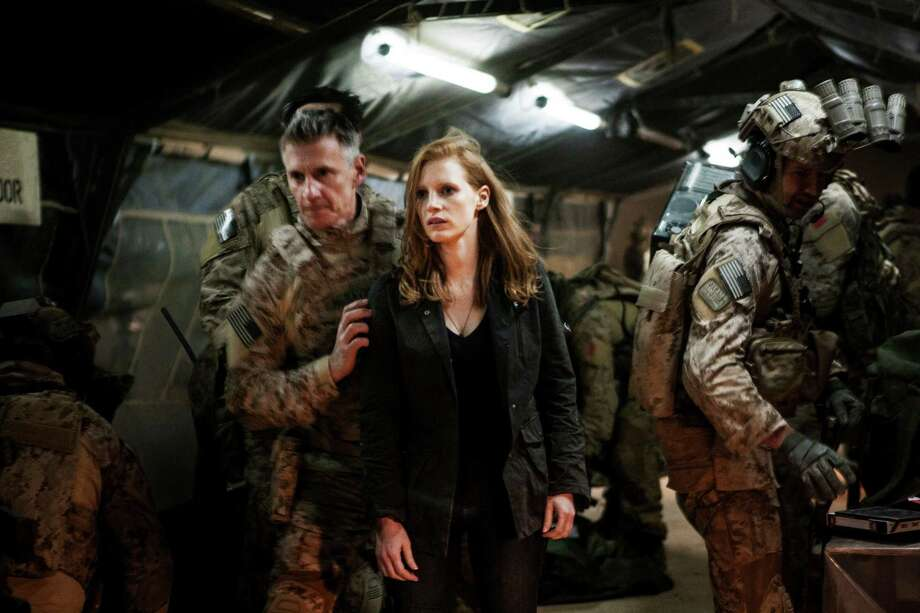 "In this undated publicity photo released by Columbia Pictures Industries, Inc., Jessica Chastain, center, plays a member of the elite team of spies and military operatives, stationed in a covert base overseas, with Christopher Stanley, left, and Alex Corbet Burcher, right, who secretly devote themselves to finding Osama Bin Laden in Columbia Pictures' new thriller, ""Zero Dark Thirty."" Best-picture prospects for Oscar Nominations on Thursday, Jan. 10, 2013, include, ""Lincoln,"" directed by Steven Spielberg; ""Zero Dark Thirty,"" directed by Kathryn Bigelow; ""Les Miserables,"" directed by Tom Hooper; ""Argo,"" directed by Ben Affleck; ""Django Unchained,"" directed by Quentin Tarantino; and ""Life of Pi,"" directed by Ang Lee. (AP Photo/Columbia Pictures Industries, Inc., Jonathan Olley) Photo: Associated Press"