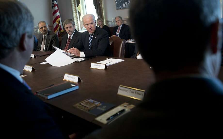 Vice President Joe Biden meets with representatives of sport shooting and wildlife interest groups. He plans to give policy recommendations to President Obama by Tuesday. Photo: Saul Loeb, AFP/Getty Images