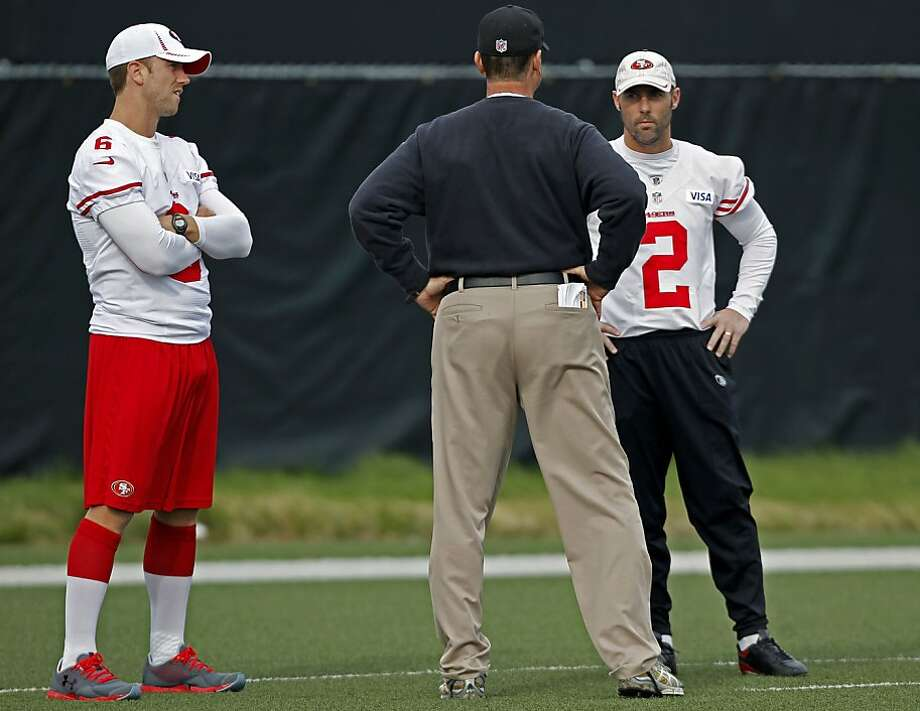 Billy Cundiff (left) and David Akers met with Jim Harbaugh on Wednesday, a day before the coach chose Akers to start. Photo: Michael Macor, The Chronicle