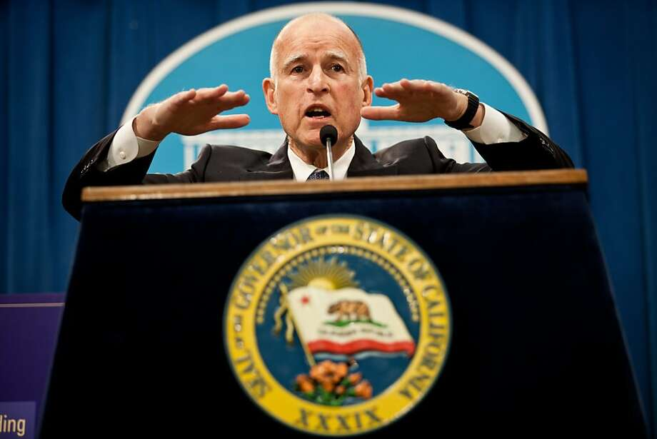 Gov. Jerry Brown announces his proposed state budget at the State Capitol January 8, 2013 in Sacramento, Calif. Brown is proposing a $97.7 billion plan that is 5 percent higher than the current year's spending. Photo: Max Whittaker/Prime, Special To The Chronicle
