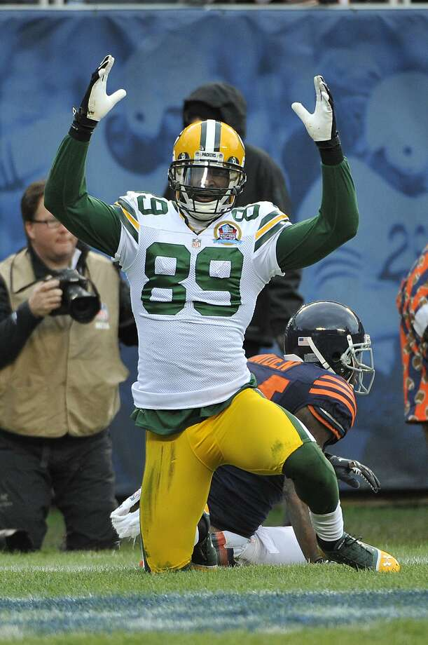 CHICAGO, IL - DECEMBER 16: James Jones #89 of the Green Bay Packers after catching a touchdown against the Chicago Bears on December 16, 2012 at Soldier Field in Chicago, Illinois. (Photo by David Banks/Getty Images) Photo: David Banks, Getty Images