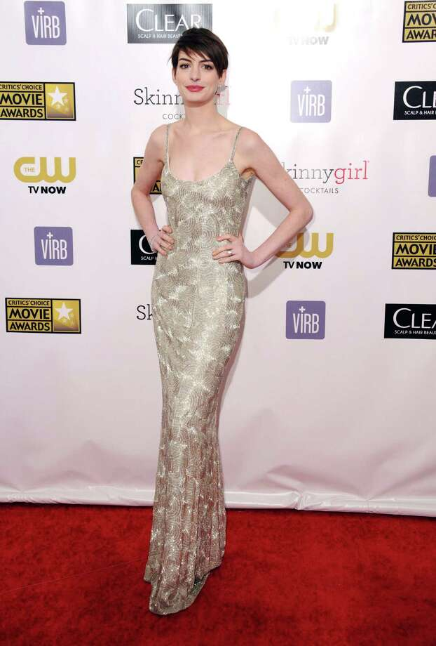 Anne Hathaway arrives. Photo: Jordan Strauss/Invision/AP