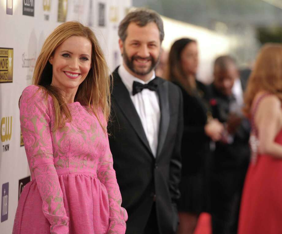 Leslie Mann, left, and Judd Apatow arrive. Photo: John Shearer/Invision/AP