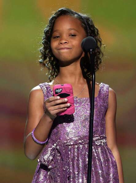 Quvenzhane Wallis accepts the award for best young actress for