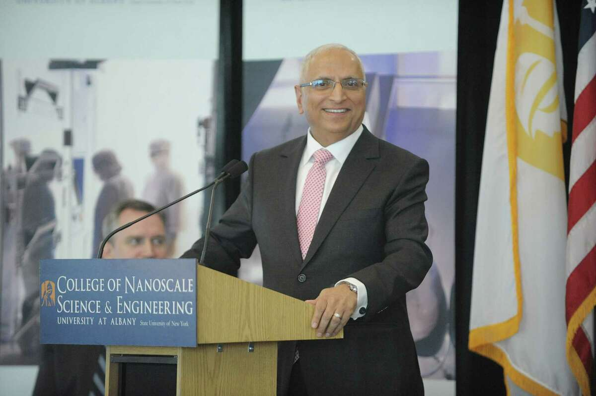 Ajit Manocha, CEO of GlobalFoundries, addresses those gathered at an event at the College of Nanoscale Science and Engineering on Thursday, Jan. 10, 2013 in Albany, NY. The event was held to discuss Global Foundries plans for research and development in Malta. (Paul Buckowski / Times Union)