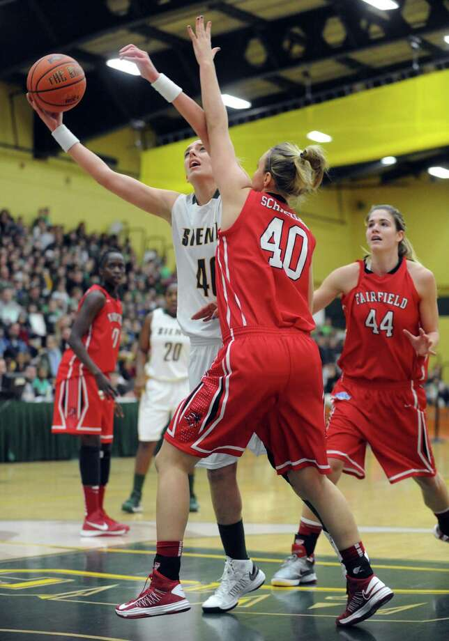 Siena's Clara Sole Anglada goes to the basket during a midday game against Fairfield Thursday, Jan. 10, 2013, in Loudonville, N.Y. (Michael P. Farrell/Times Union) Photo: Michael P. Farrell