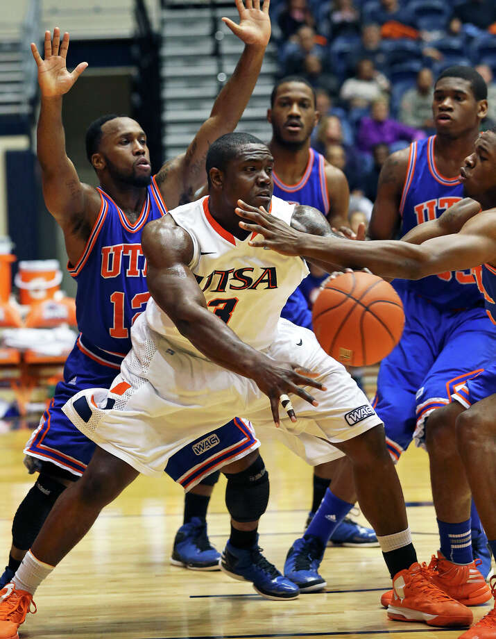 Roadrunner center Larry Wilkins is stopped by a collapsing defense as UTSA plays UTA at the UTSA Convocation Center in men's basketball on January 10, 2013. Photo: Tom Reel, Express-News / ©2012 San Antono Express-News