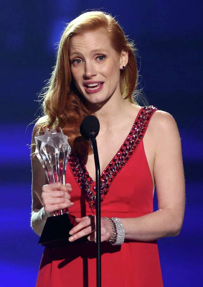 "Jessica Chastain accepts the award for best actress for ""Zero Dark Thirty."" Photo: Matt Sayles/Invision/AP"