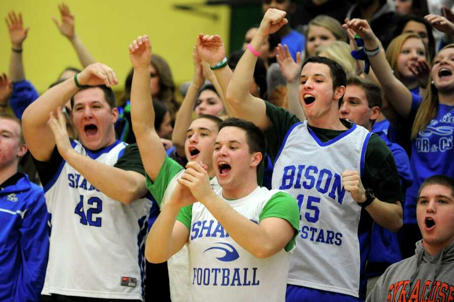 Shaker's student section cheers during their basketball game against Shenendehowa on Thursday, Jan.