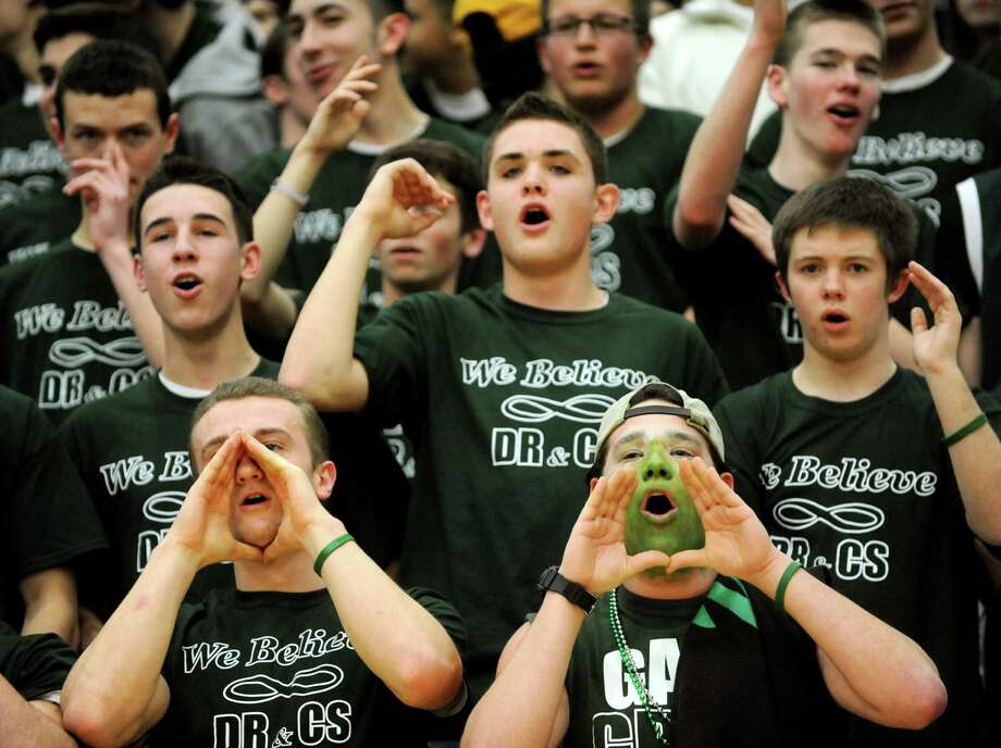 Shenendehowa's student section cheers during their basketball game against Shaker on Thursday, Jan. 10, 2013, at Siena College in Loudenville, N.Y. (Cindy Schultz / Times Union) Photo: Cindy Schultz / 00020711A