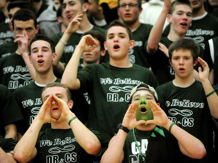 Shenendehowa's student section cheers during their basketball game against Shaker on Thursday, Jan.
