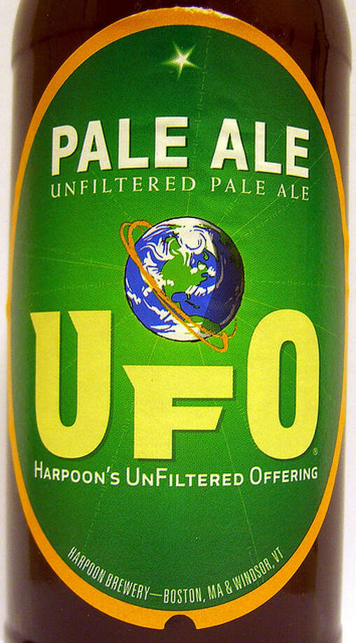 "HARPOON UFO UNFILTERED PALE ALE. From one of the breweries credited with kicking off the revival of craft beer in the United States. Which player is this? New England's Rob Gronkowski, who went ""unfiltered"" by clothes on the cover of ESPN The Magazine. walknboston/Flickr Creative Commons"
