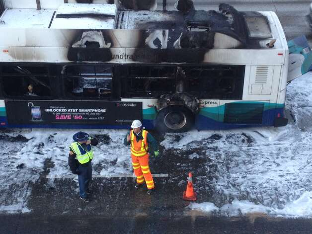 The aftermath of the bus fire near Northgate. Photo: JOSHUA TRUJILLO/SEATTLEPI.COM
