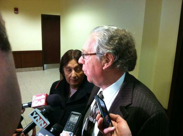 LuAnn Burgess' attorneys, Cheryl Coleman, left, and Larry Rosen speak to reporters after Burgess was sentenced to probation for an August 2011 crash that killed three women in Voorheesville. (Skip Dickstein/Times Union)