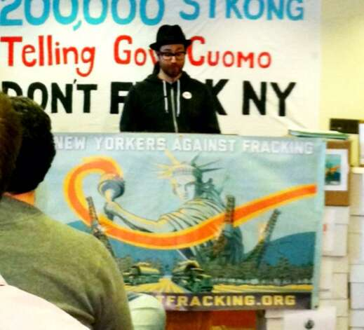 Sean Ono Lennon speaks against hydrofracking on Jan. 11, 2013, in Albany. (Skip Dickstein/Times Union)
