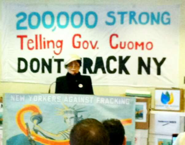 Yoko Ono speaks against hydrofracking on Jan. 11, 2013, in Albany. (Skip Dickstein/Times Union)