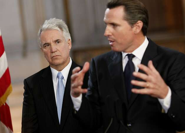 S.F. District Attorney George Gascón and then-Mayor Gavin Newsom in 2011. Photo: Brant Ward, The Chronicle
