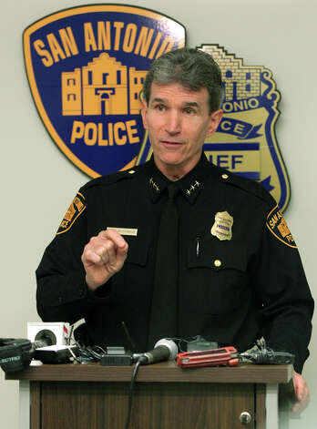 San Antonio police chief William McManus speaks Friday, Jan. 11, 2013 at a news conference at police headquarters about a San Antonio police officer who was arrested for allegedly driving while intoxicated. According to the chief, patrol officer Robert Romo, 26, was arrested early Friday morning near Loop 410 and San Pedro. Photo: JOHN DAVENPORT, San Antonio Express-News / ©San Antonio Express-News/Photo Can Be Sold to the Public