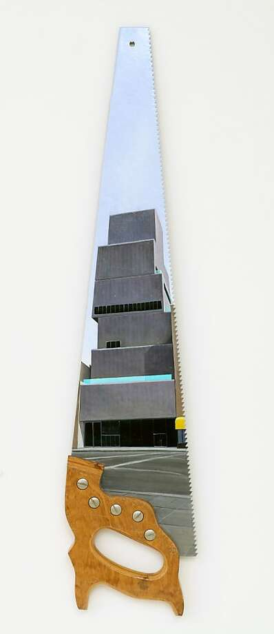"In Rico Solinas' ""The New Museum"" (2008), oil on metal, the taper fits the building's recession. Photo: Courtesy Of Rico Salinas"