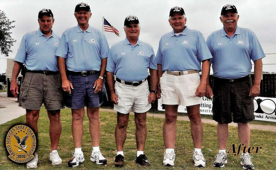 In 2010, the United States Air Force Skeet Team re-create a photo they took 20 years earlier at what is now the National Shooting Complex on the northwest side of the city. This photo was taken during the 2010 Armed Services Skeet Championship. All are retired from the military. They are (from left), Doug Repaal, Don Snyder, Gregg Paillex, Doug Coulter and Don Snyder. Photo: Courtesy Photo